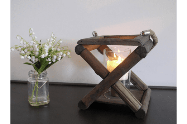 Wooden Rustic Rope Handle Candle Lantern